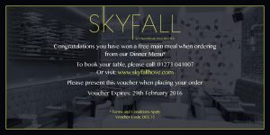 SkyFall Free Main Meal Voucher